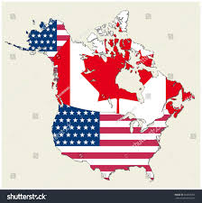 Usa And Canada Map by Map States Canada Usa Represented Flag Stock Vector 564865702