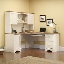 excellent corner computer desk in antiqued white 403793 with