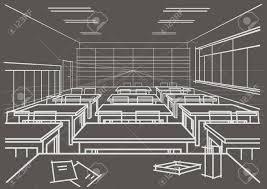 linear architectural sketch interior classroom on gray background
