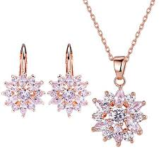 zirconia necklace set images Bamoer 18k rose gold plated cubic zirconia snowflake lever back jpg
