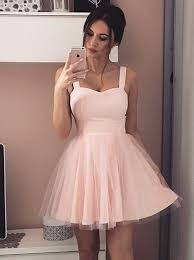 pink dress a line straps sleeveless pink tulle homecoming dress