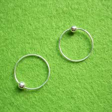 cartilage hoop earrings 14 mm tiny silver hoop earrings with captive bead rings