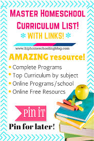 Master Homeschool Curriculum List With Links