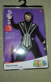 boys black silver ninja costume kids fancy dress 7 9 years