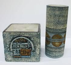 14 Cylinder Vase Two Pieces Of Troika Pottery A Cylinder Vase By Linda Hazel 14 Cm