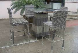 hand woven grey rattan bar set resin wicker patio bar furniture