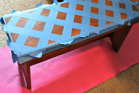 diy geometric painted bench