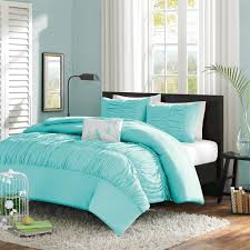 Bedding Set Queen by Twin Twin Xl Mint Blue Light Teal Ruched Fabric Comforter Set