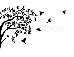 tree silhouette and bird stock vector colourbox