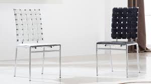 chaise tress e natea chaise design dossier tresse en cuir blanc 0noir 02