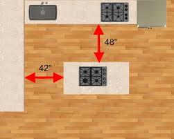 space around kitchen island minimum walking space for kitchens epic how much space around