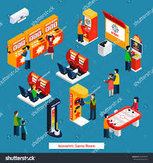 isometric poster public game room different stock vector 414078922