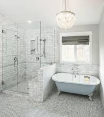 free bathroom design enlarged shower with bench seat free standing tub and window