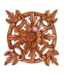 23 inch teak wood carving wall panel carved flower wall sculpture