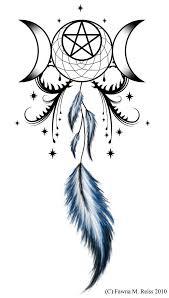 moon goddess and dreamcatcher tattoo design