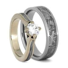 white gold wedding ring sets meteorite wedding ring set with white gold and titanium 3771