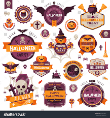 set vintage happy halloween badges labels stock vector 297873377