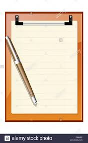 illustration of letter pad with ball pen on white background stock