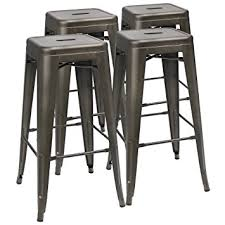 Tolix Bar Table Amazon Com Furmax 30 U0027 U0027 High Metal Stools Backless Metal Stool