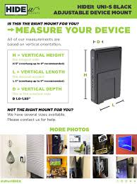 wall mounted height measure amazon com hideit uni s black adjustable small device wall