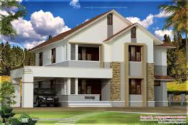 home design simple sloping roof house elevation kerala and floor