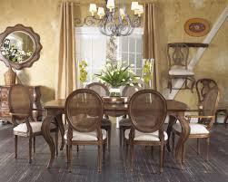 oval cane back dining chairs with traditional style and dark color