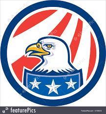 Bald Eagle On Flag Emblems And Symbols American Bald Eagle Head Flag Circle Retro