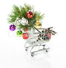 shopping cart empty and with tree decoration white