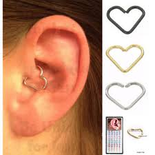 heart cartilage 1 box daith stainless steel heart ring helix tragus piercing ear