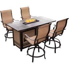 High Patio Dining Set - monaco 5 piece high dining bar set with 30 000 btu fire pit bar