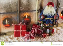 santa claus with red presents christmas country style window de
