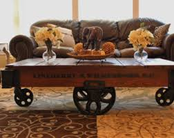 railroad cart coffee table vintage restored lineberry factory cart daisy wheel coffee