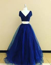 royal blue two pieces sleeves royal blue formal prom dress bsbridal