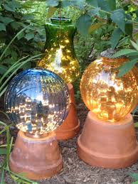 garden lights u2013made from flower pots and old lamp globes with a