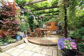 Patio And Things by Attractive Garden Patio Natural Stone Patio And Garden Setting In