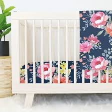 Floral Crib Bedding Sets Navy Midnight Floral Bouquet Crib Bedding Caden