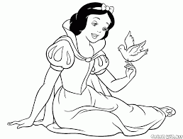 coloring page snow white and a bird