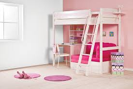 Bunk Bed With Desk And Couch White Wooden Bunk Bed With Pink Wooden Desk And Shelves Plus White