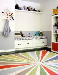 playroom rug kids transitional with built in bench colorful area