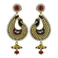 peacock design earrings peacock design kundan earring set goldtone traditional