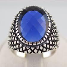 model cincin blue safir cincin pria 925 sterling silver blue safir turkish handmade r9