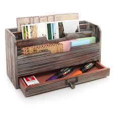 Desk Sorter Organizer 3 Tier Country Rustic Torched Wood Office Desk File Organizer Mail