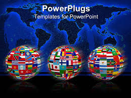 Powerpoint World Map by Powerpoint Template Three Globes With Flags Of World Countries