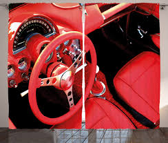vintage retro home decor vintage curtains 2 panels set red sports car retro home decor ebay