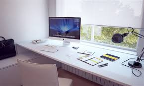 furniture interesting imac computer desk with white curtains and