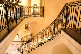 Decorative Wrought Iron Railings Stair Astounding Half Turn Staircase Decoration With Dark Brown