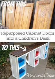 Repurpose Cabinet Doors Repurposed Cabinet Doors Into A Desk