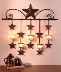 Metal Star Home Decor Rustic Metal Star Candle Wall Sconce Glass Tea Light Holder Tea