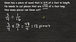 solving fraction word problems fraction division youtube