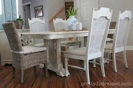 Painted Kitchen Tables Vinyl Leather Ladder White Upholstered Chalk Paint Kitchen Table